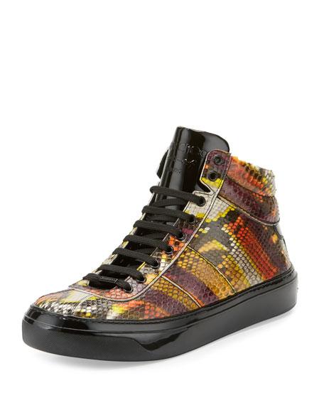 Belgravia Men's Python & Patent Leather High-Top Sneaker, Multicolor