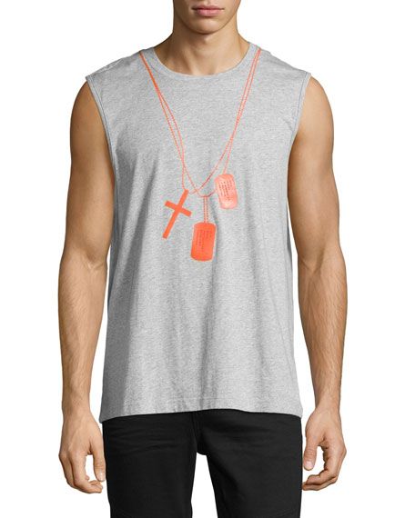 Dog Tag Muscle Tank, Gray/Orange