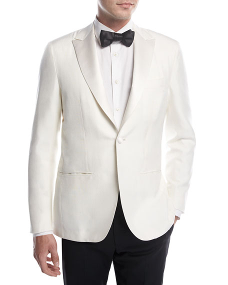Kiton Doupioni Peak-Lapel Dinner Jacket, White