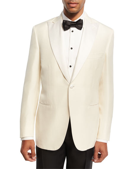 Satin-Lapel Silk Dinner Jacket, White