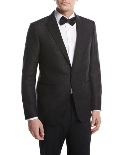 Box Jacquard Tuxedo Jacket  Black