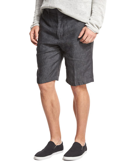 Relaxed-Fit Linen Shorts, Gray