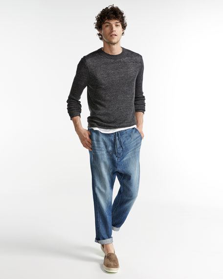 Raw-Edge Linen Crewneck Sweater