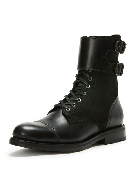 Frye Men's Officer Cuff Combo Boot, Black