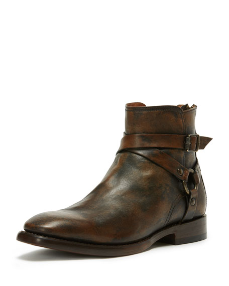 Men's Weston Leather Harness Boot, Brown