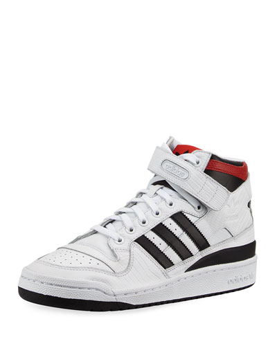 Men's Forum Leather Mid-Top Sneaker, White