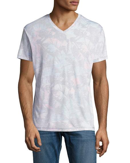 Sol Angeles Paloma Tropical Leaf V-Neck T-Shirt, Multicolor