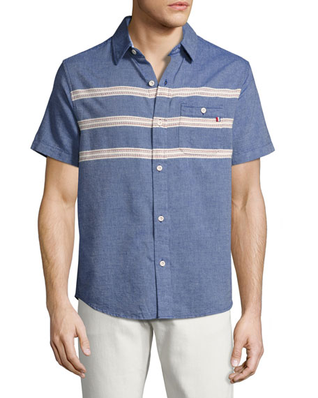 Puerto Embroidered Short-Sleeve Chambray Shirt, Indigo