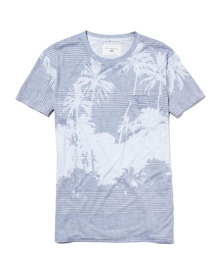 Cabana Palm Tree Fine-Stripe Pocket T-Shirt, Blue