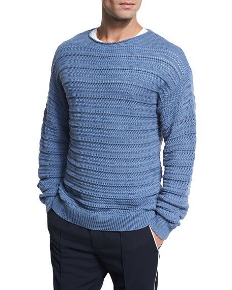 Vince Horizontal Textured Crewneck Sweater, Dutch Blue and