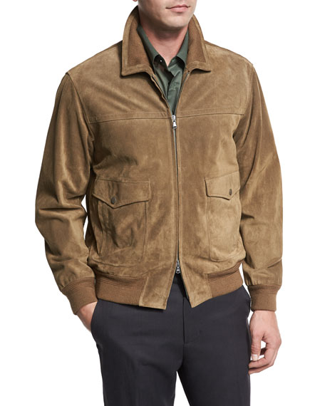 Vince Suede Flight Jacket, Tobacco (Brown)