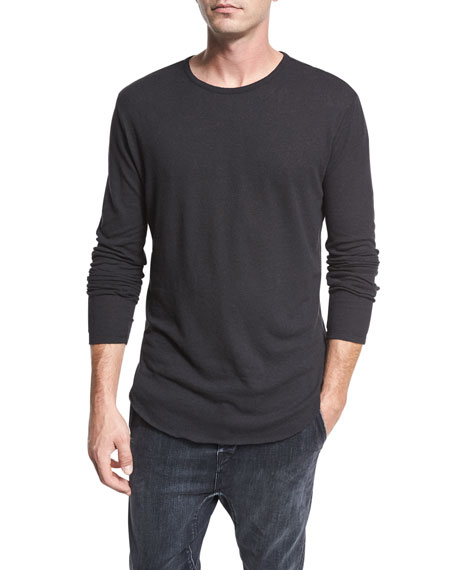 Raw-Hem Long-Sleeve Crewneck T-Shirt, Black