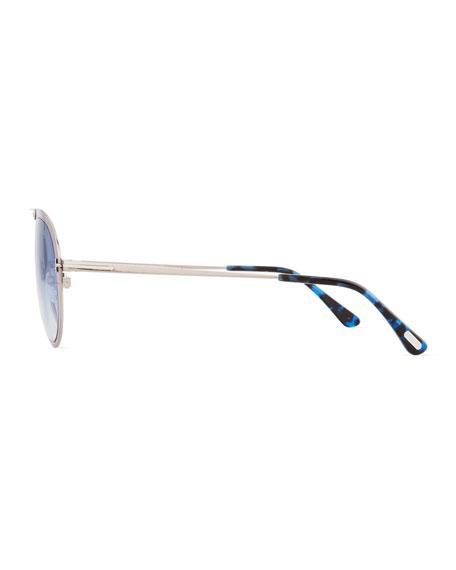 Dashel Aviator Sunglasses, Silver/Blue
