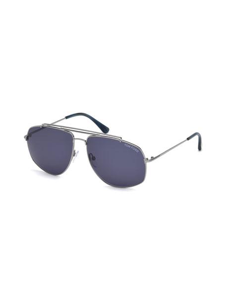 TOM FORD Georges Angular Aviator Sunglasses, Light Ruthenium