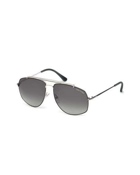 TOM FORD Georges Angular Aviator Sunglasses, Silver