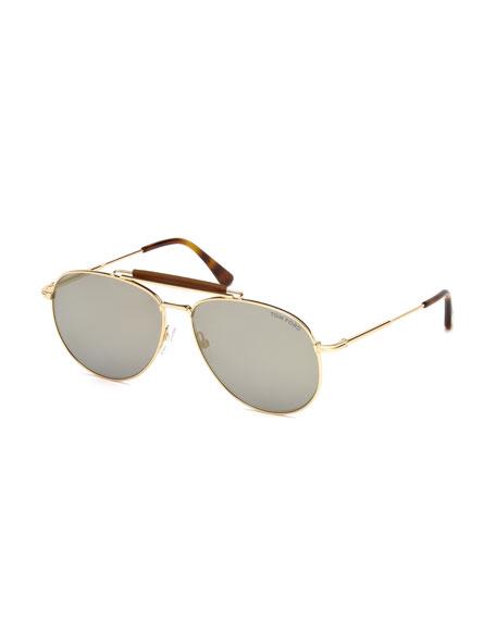 TOM FORD Sean Metal Aviator Sunglasses, Rose Gold/Light