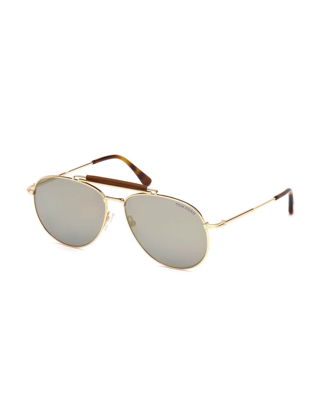 8571e4a2457ba TOM FORD Sean Metal Aviator Sunglasses