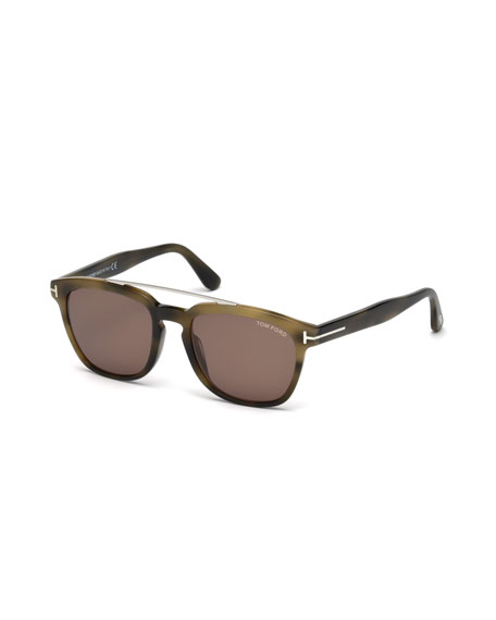 TOM FORD Holt Square Acetate Sunglasses, Olive