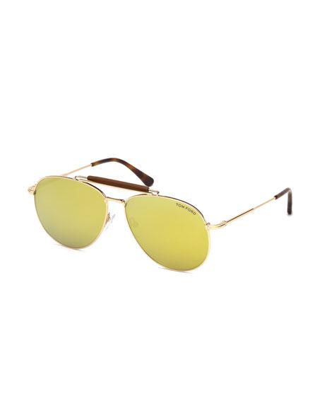 Sean Metal Aviator Sunglasses with Mirrored Lenses, Rose Gold/Brown