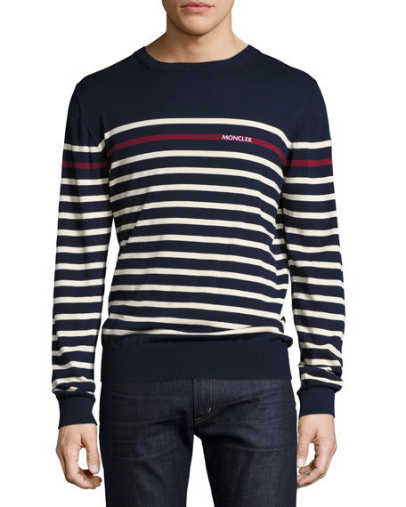 Logo Striped Crewneck Sweater