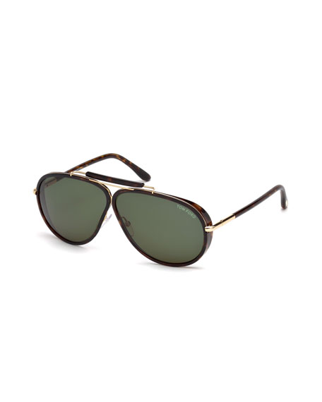 TOM FORD Cedric Acetate Aviator Sunglasses, Tortoiseshell