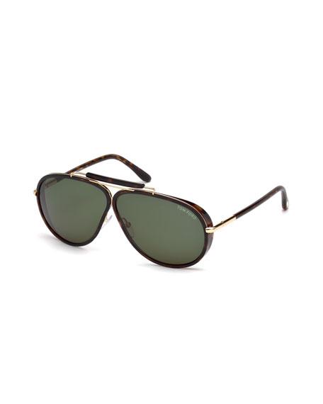 Cedric Acetate Aviator Sunglasses, Tortoiseshell