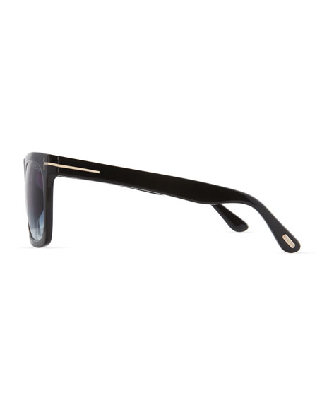 Morgan Thick Square Acetate Sunglasses, Black