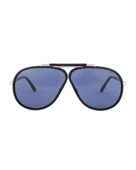 Cedric Acetate Aviator Sunglasses, Black