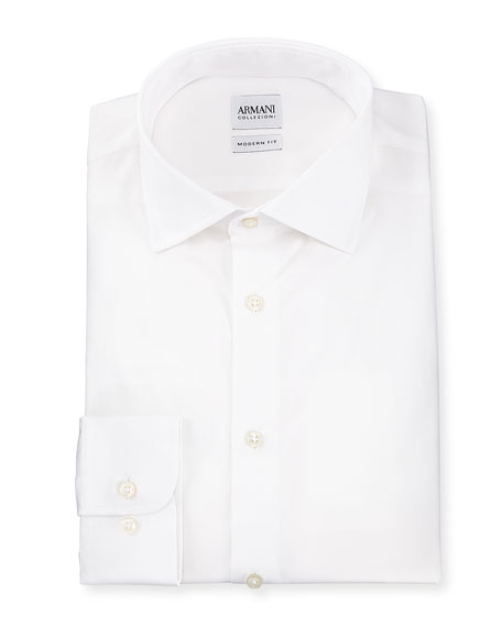 Armani Collezioni Modern-Fit Cotton Poplin Dress Shirt, White