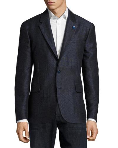 Varun Mixed-Weave Sport Coat, Navy