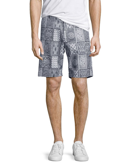 Robert Graham Doaba Card-Print Shorts, Blue