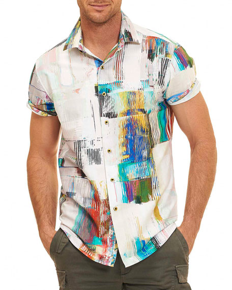 white shirt paint robert graham paint print short sleeve shirt white