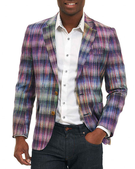 Sunderbans Plaid Two-Button Sport Coat, Multicolor