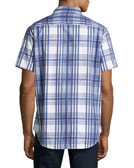 East Timor Plaid Short-Sleeve Sport Shirt, Blue