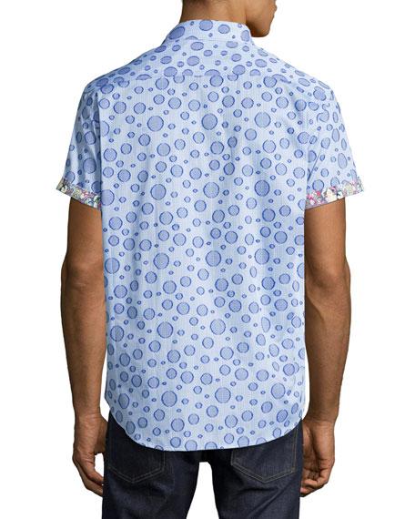 Phillipe Bubble Plaid Short-Sleeve Sport Shirt, Blue