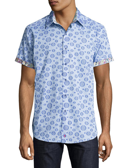 Robert Graham Phillipe Bubble Plaid Short-Sleeve Sport Shirt,