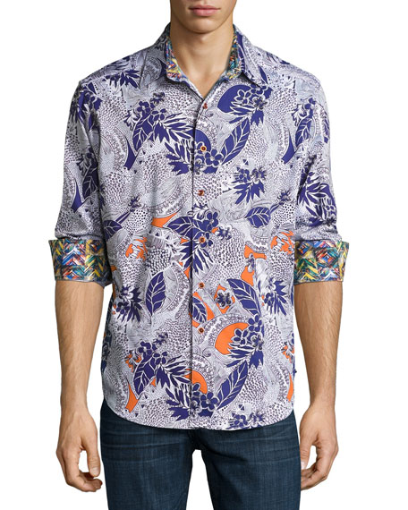 Robert Graham Minicoy Island Tropical-Print Sport Shirt,