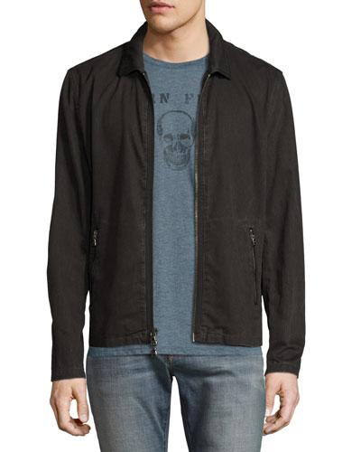 Zip-Front Denim Jacket, Black