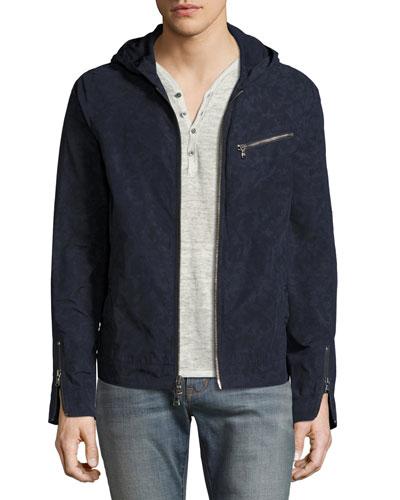 Camouflage Hooded Zip-Front Jacket, Indigo