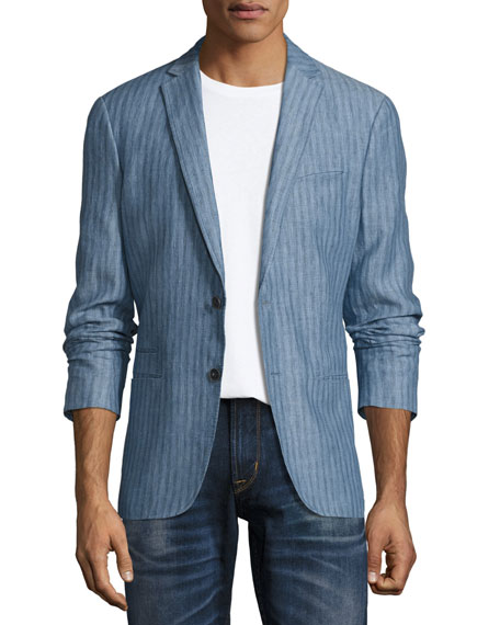 John Varvatos Star USA Thompson Striped Two-Button Soft