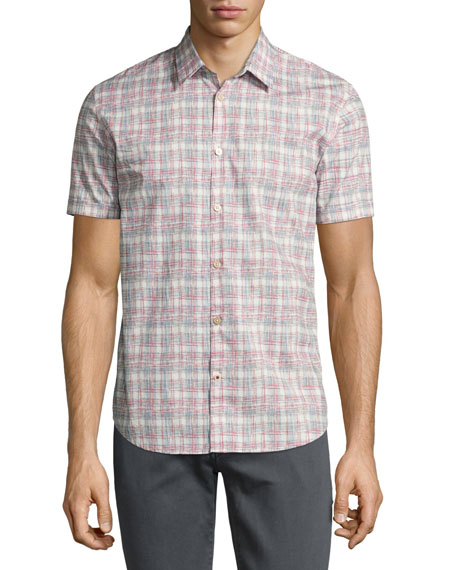 Mayfield Slim-Fit Short-Sleeve Plaid Shirt, White