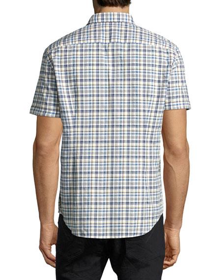 Mayfield Slim-Fit Plaid Sport Shirt, Medium Blue