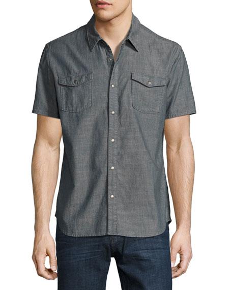 John Varvatos Star USA Snap-Front Short-Sleeve Sport Shirt,