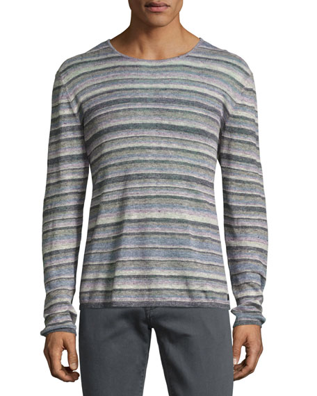 John Varvatos Star USA Striped Linen Crewneck Sweater,
