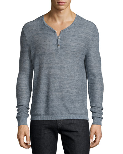 Textured-Stitch Linen Henley Sweater, Blue