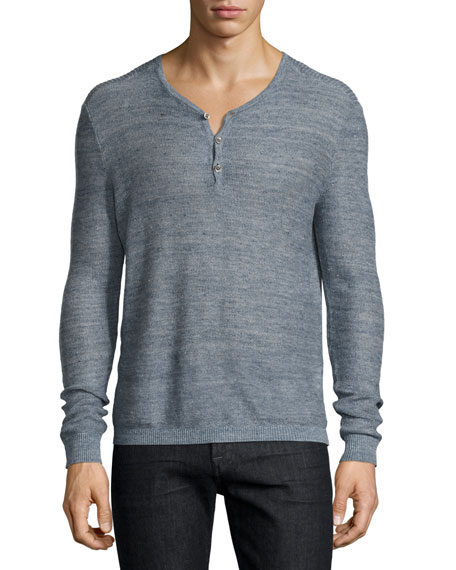 John Varvatos Star USA Textured-Stitch Linen Henley Sweater,