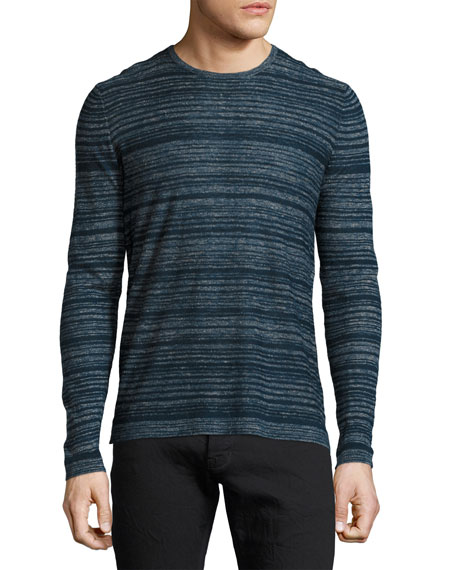 John Varvatos Star USA Varied-Stripe Crewneck Sweater, Navy