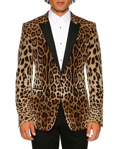 Leopard-Print Peak-Lapel Martini Evening Jacket, Brown