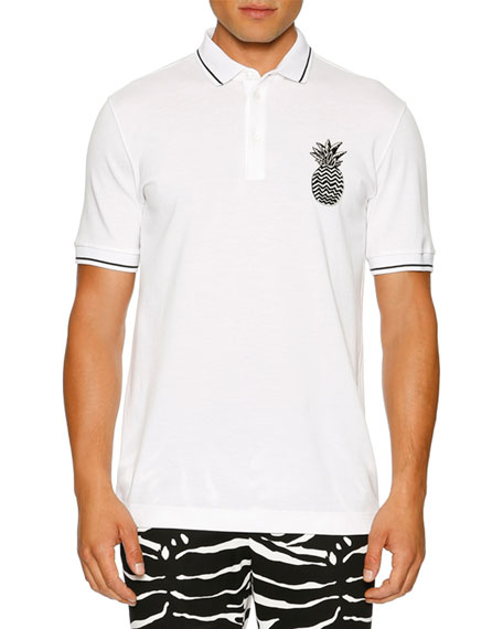 Dolce & Gabbana Contrast-Tip Pineapple Polo Shirt, White