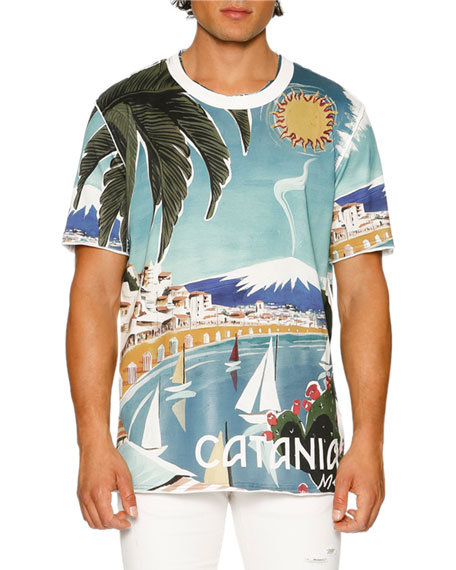 Dolce & Gabbana Catania Tropical Ringer T-Shirt, Multicolor